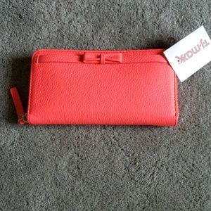 NWT Kate Spade neon pink leather wallet